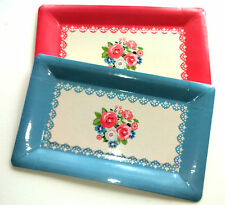 4 RECTANGULAR Serving PLATES BLOOMING BEAUTIFUL 2 BLUE 2 PINK ROSES 31 x 19cm