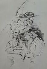 BRUCK,  Ink on Paper, At The Synagogue, Signed