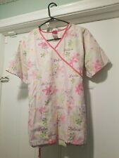 Disney Tinkerbell Pink Believe Floral V Neck Wrap 2 Patch Pocket Tie Back Med