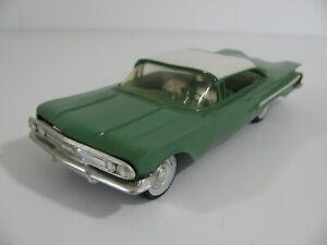 Vintage SMP Friction Drive Green White 1960 Chevrolet Impala Model Car Promo VG