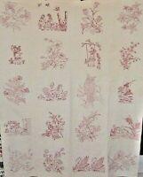 ANTIQUE RED WORK QUILT   WELL DONE RED WORK. c1880