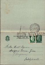 INTERO POSTALE 1938 25+25 CENT. DA BERGAMO PER CALOLZIOCORTE   C4-592
