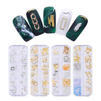 Gold Silver Metal Rivets Alloy Studs Shell Feather Moon 3D Nail Art Decoration