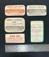 Collection of 5 Vintage Chemist Medicine Pharmacy Bottle Labels, Dublin Ireland