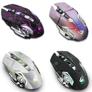 2.4GHz Wireless Gaming Mouse LED Light USB Optical Silent Mice Rechargeable X8