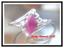 3/4CT MARQUISE RUBY DIAMOND RING WHITE GOLD BEAUTIFUL !