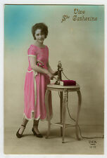 1920s French Glamour Glamor Young Lady on Telephone vintage photo postcard