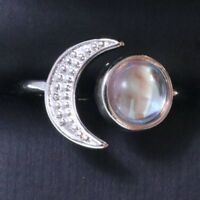 Sparkling Round White Moonstone Ring Women Jewelry Gift 14K White Gold Plated