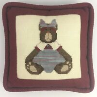 Vintage Finished Completed Cross Stitch Throw Pillow Teddy Bear Kitsch