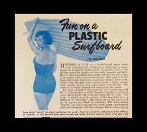 "SURFBOARD 1953 How-To build PLANS 9'6"" Foam & Fiberglass"