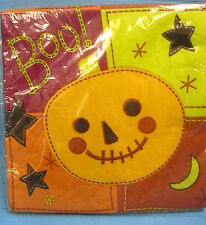 Luncheon Napkins Halloween Boo Pumpkin Fall Party Black Orange Green 20ct