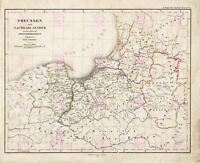Map 1858 Toepenn Prussia Before Teutonic State Replica Canvas Art Print