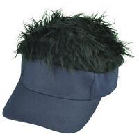 Plain Navy Blue Black Faux Fur Flair Hair Adjustable Visor Hat Sun Cap