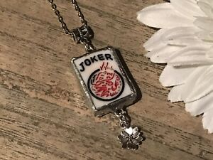 Recycled Game Tiles Jewelry, Vintage Mah Jongg Joker Pendant w/Charm