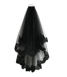 Lady Black Bridal Wedding Veil with Comb Bride Gothic Lolita Party Vintage Fairy