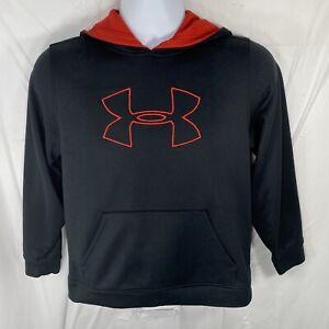 Under Armour Youth Large Loose Fit Black Red Logo Hoodie Kids/Boys Sweatshirt