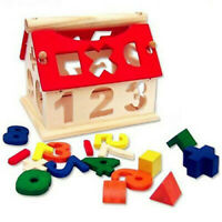 Sorter Intellectual Blocks Wooden Kids Educational Number House Building Toys
