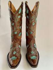 Old Gringo Abby Rose Ladies Cowboy Boot Brass/Aqua size 8