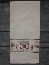 "Light Muslin Tea Towel ""Orchard Fresh Apples"" Dark Red Stamped, 100% Cotton"
