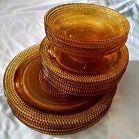 Vintage Amber gold dinnerware set