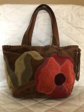 Coach Desi Floral Brown and Red Suede Tote
