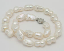"""Beautiful HUGE Natural White Baroque Cultured Pearls Necklace 20"""""""