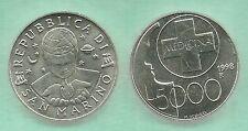 SAN MARINO 1998  LIRE 5000 ARGENTO SILVER  FDC UNC MEDICINA FARMACIA CROCE