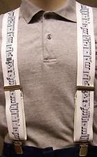 """Suspenders 2""""x48"""" FULLY Elastic Beethoven Symphony NEW White"""