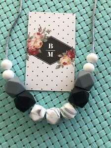 Silicone Sensory (was teething) Necklace for Mum Jewellery Bead Aus Gift Marble