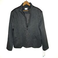 ALFRED DUNNER GREY GARDENS JACKET EMBELLISHED STUDDED LINED FULL-ZIP SIZE 16 NWT