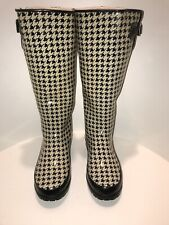 Sperry Top Sider Houndstooth Rubber Rain Boots  Women's 8 Buckle Lined