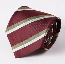 "New E.MARINELLA NAPOLI Burgundy-Ivory-Green Stripe Classic 3.5"" Silk Tie"
