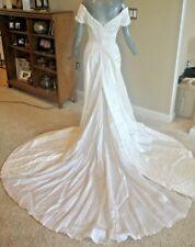 Helen Morley Vintage Silk Ivory Off Shoulder Bridal Gown Wedding Dress Size 8