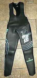 DE SOTO T1 TRIATHLON Black Pearl Full Length BibJohn Wetsuit W/GREEN GOMA SIZE 3
