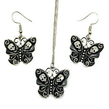 Silver Plated Black Enamel Butterfly Skulls Gothic Punk Necklace & Earrings Set