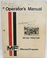 MASSEY-FERGUSON MF180 TRACTOR OPERATOR'S MANUAL