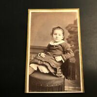 Antique Post Mortem Photograph Photo Carte De Visite CVD Little Girl w Cross VTG