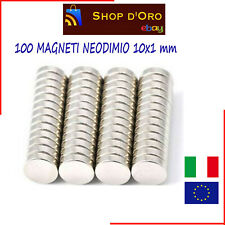 100 MAGNETI NEODIMIO 10X1 MM CALAMITE FORTISSIME PER FIMO CERAMICA BOMBONIERE