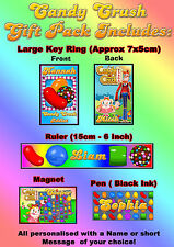 Personalised Candy Crush Gift Set Pack - Key Ring, Magnet, Pen & Ruler - w/ Name