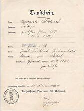 Taufschein Hindenburg Oberschlesien 1934 Fröhlich Bebel Zabrze Dokument O.S. rar