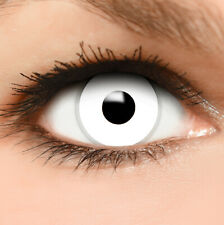 """Farbige Kontaktlinsen weiß """"Zombie"""" + Behälter weiße Halloween Linsen Fun"""