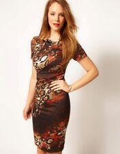 Rare Karen Millen Snake Print Fitted Dress - Red Orange Brown Size 6/ 8 - Dp090