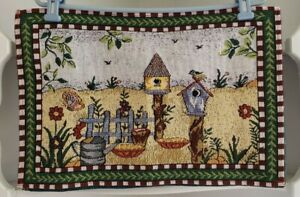 Set of 2 Garden Tapestry Table Placemats Bird House Butterfly Flowers Leaves