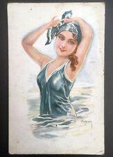 Oude postkaart - zwembad - verleidelijk