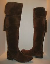 FRYE MOLLY TASSEL OVER THE KNEE WOOD BROWN SUEDE BOOTS SIZE 8 $548+