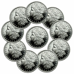 Lot of 10 Morgan Dollar Design 1/2 Troy oz .999 Silver Rounds SKU47540