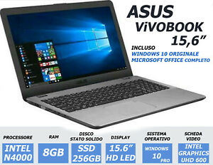 NOTEBOOK ASUS VIVOBOOK 15.6 N4000 RAM 8GB DDR4 256GB SSD UHD600 PORTATILE NUOVO