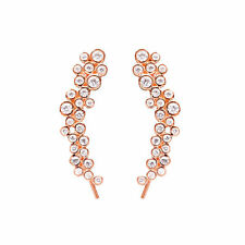 925 Sterling Silver Women Ear Cuff Ear Crawler Earrings with Cubic Zircon Stones