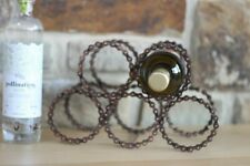 Recycled Bicycle Chain wine or bottle rack holds up to 5 bottles copper colour