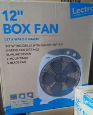 "Lectro 12"" Box Fan L37, W14.5, H44 cm, Rotating Grille RRP 39.99"